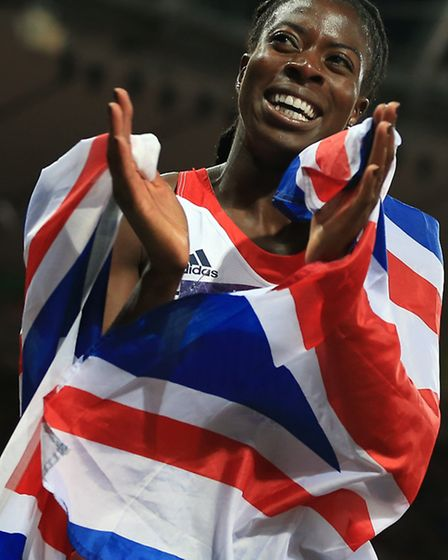 Great Britain's Christine Ohuruogu, from Newham, celebrates after winning the Silver medal in the Wo