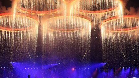The Olympic Rings come together in formation during the London Olympic Games 2012 Opening Ceremony.