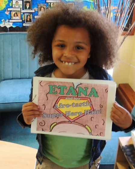 Etana Hobbs, who wrote a story featuring herself with her mother. [Picture: Highlands Primary School