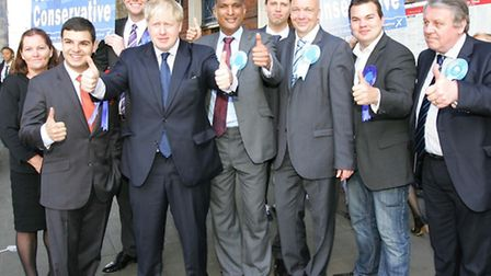 Boris Johnson with members of the RCA and Syed Kamall (centre) outside Romford Station