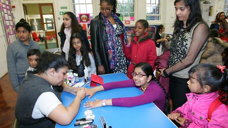 Nail art at the multicultural evening at Christchurch school