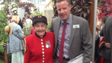 First female Chelsea Pensioner Dorothy Hughes and Matthew Monckton