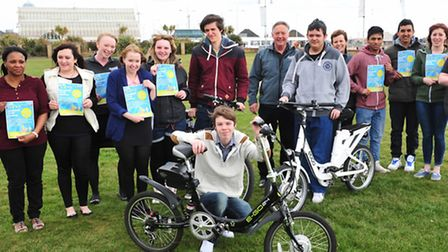 IN THE SADDLE: Students from Lowestoft Sixth Form College and Lowestoft College join the organisers