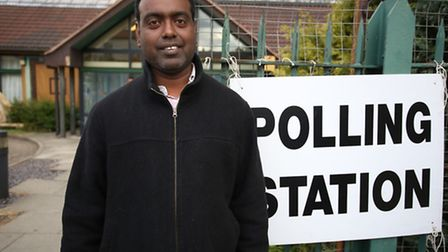 Leo Marianesan outside the polling station at Downshall Primary School in Seven Kings.