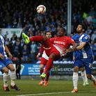 Leyton Orient's Kevin Lisbie tries an overhead kick in the play-off semi-final second leg against Pe