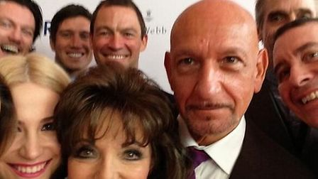 Joan Collins takes a selfie with Sam Bailey, Pixie Lott, Vernon Kay, Dominic West, Patrick Kingsley,