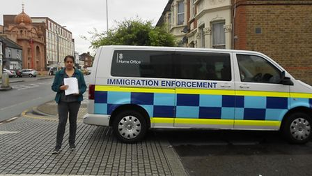 Rita Chadha from charity Ramfel next to the immigration car