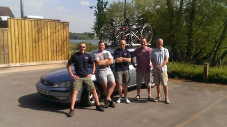 Ilford Blue Watch firefighters cycled around the coast of England to raise money for children's char