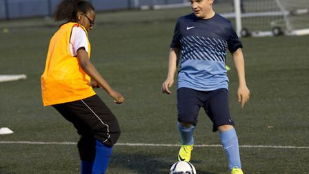 Liam Archer, right, takes on Fadza Karmia during the session (pic: Tim Anderson)
