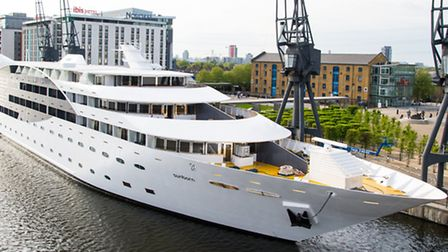 The spectacular Sunborn moored at the Royal Docks