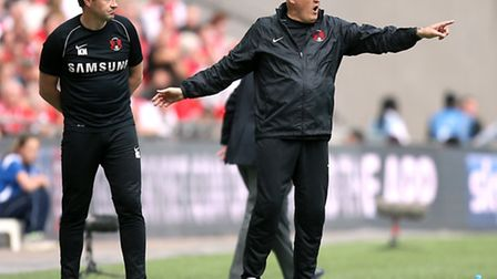 Leyton Orient manager Russell Slade looks on from the touchline at Wembley (pic: John Walton/PA)