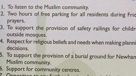 Conservative Party leaftlet appeals for Muslim votes