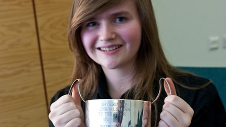 Katie Tweddle with her award. Picture: Barry Kirk