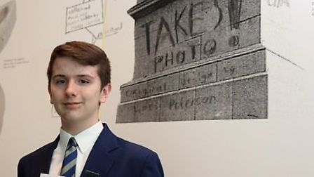 James Peterson, of South Woodford, wins the chance to have his design of a giant iphone, on top of t