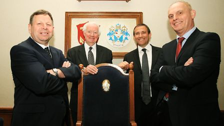 Cllr Tucker, left, Cllr Ramsey, Cllr Webb, and Cllr Barret at the council chamber in Havering Town H