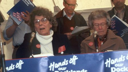 Connie (left) speaking during the People's Armada to Parliament 1984