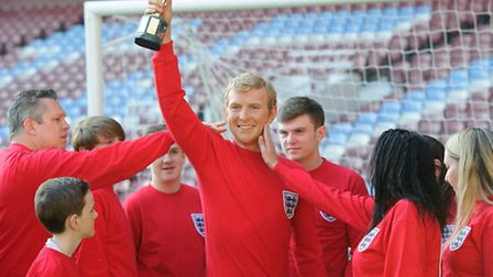 The waxwork figure was revealed for the first time on the pitch where Bobby Moore played for most of