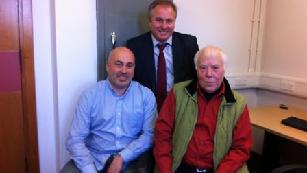 Edward Boreham, 83, (right), with his sons Jon, 42, (left) and Pat, 49, (centre)