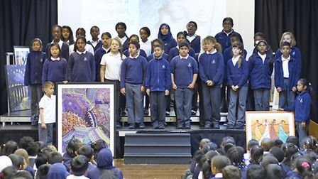 Children at Nelson Primary School pictured with some of the artworks they have received