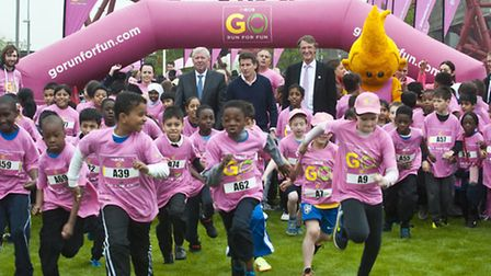 The young runners set off on their fun run around Queen Elizabeth Olympic Park. Pic: Ken Lennox.