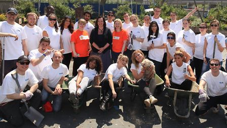 Lyn Brown MP with volunteers from CEB and charity TimeBank as they regenerate Core Landscapes, Canni