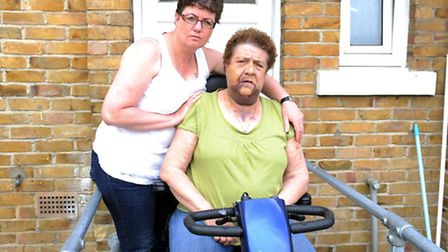 Jacqui Drain, 50 (left) with her mother Patricia Beckford, 75, who was attacked on Friday. Photo: Da