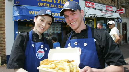 Laura Yorganuji and Florin Pagu were offering Norwegian cod and chips for one pound
