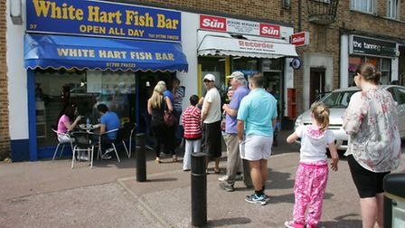 The queue at the White Hart fish bar