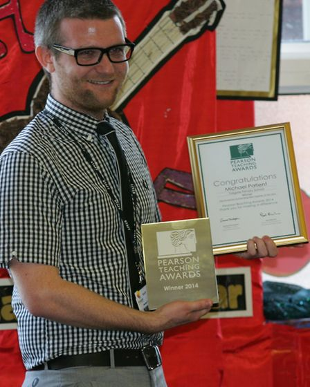 Michael Patient with his teaching award