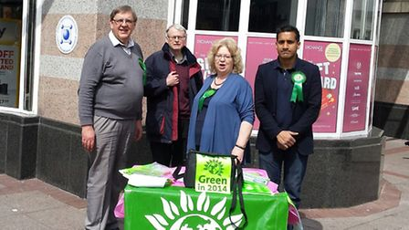 Green Party candidates John Tyne, Kevin Page and Wilson Chowdhry with MEP Jean Lambert. [Picture: Wi