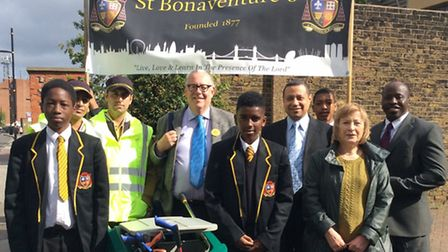Students from St Bonaventure's took part in a TELCO CitySafe neighbourhood walk and litter pick alon