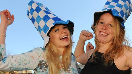 Sophie Urry, left, and Maryrisa Chappell wear the Lowestoft football hats. Picture: Denise Bradley