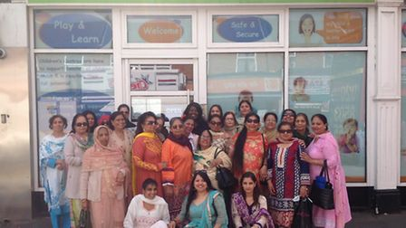 Members of Awaaz outside their new home the Loxford Children's Centre, in Ilford Lane. [Picture: Awa