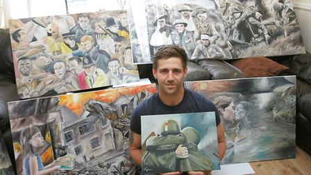 Tony Gladman with some of his artwork