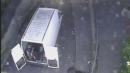 A CCTV image showing the man dumping tyres