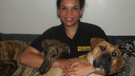 Ruth Thomas with her education dogs, Jasmine and Fudge