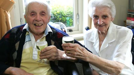 Gordon Henty, 97, and wife Marion, 93, who have celebrated their 69th wedding anniversary