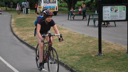 Havering Council worker Liz Aelberry demonstrates one of the borough's cycle routes
