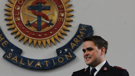 Corps officers: Naomi and John Clifton speak at a ceremony at The Salvation Army.