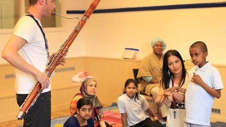 Members of the London Symphony Orchestra held a music workshop with children from Monega Primary Sch