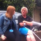 Redbridge Outreach Service senior practitioner Toni Brennan with Trevor Holloway who has been living