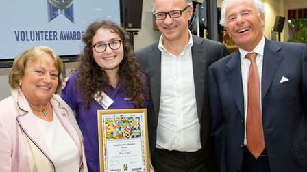 From left to right, Ninnette Levy, winner Micky Kashman, Jewish Care chairman Steven Lewis and Lord