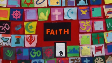 A faith tapestry made by pupils at Elmhurst Primary School
