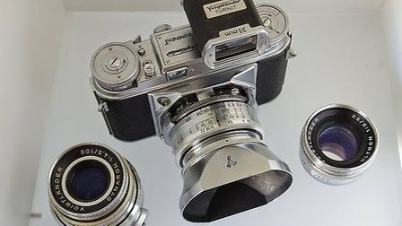 The stolen Voigtlander Prominent camera. Its case, lenses, exposure meters and bag were all taken