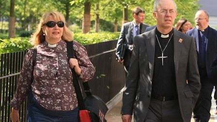 The Archbishop of Canterbury visits East Village, former Olympic athletes village, Stratford.