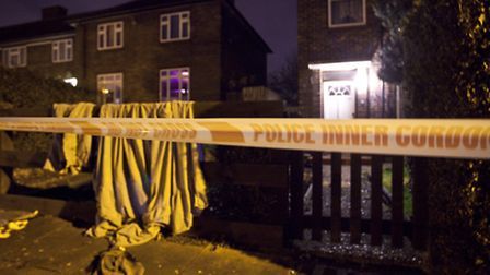 A police cordon outside a home in Kingsbridge Road,Harold Hill ,where a stabbing incident took place