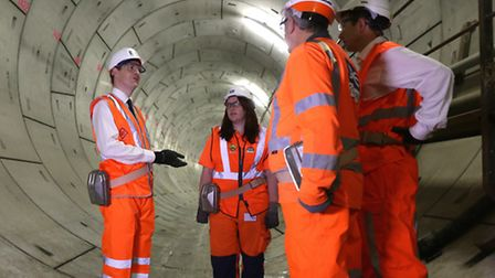 Chancellor George Osborne unveils new Crossrail Thames Tunnel in North Woolwich