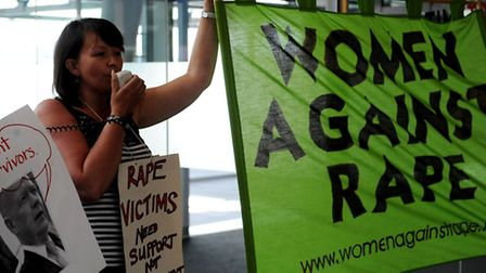 An anti-rape demonstration in the entrace to the ExCel Centre Photo: David Mirzoeff