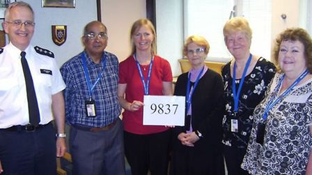 Chief Inspector Russell Taylor and volunteers Norman Castellyn , Sarah Sparks , Sally Fuller , Pam T