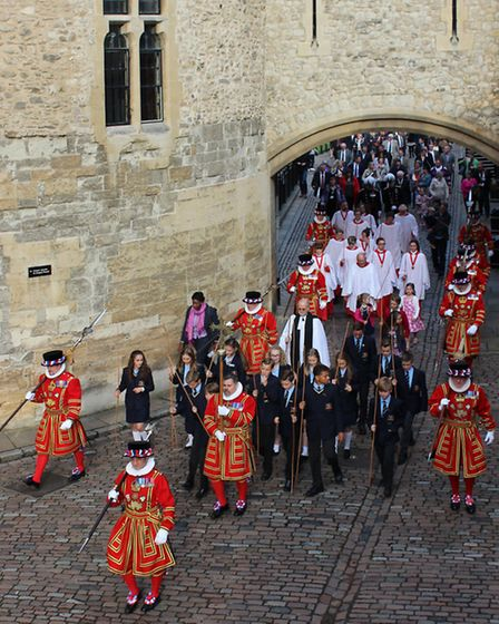 Upminster students taking part in the traditional procession. Picture: Tower of London.